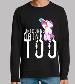 unicorns drink too. man, sweatshirt, black