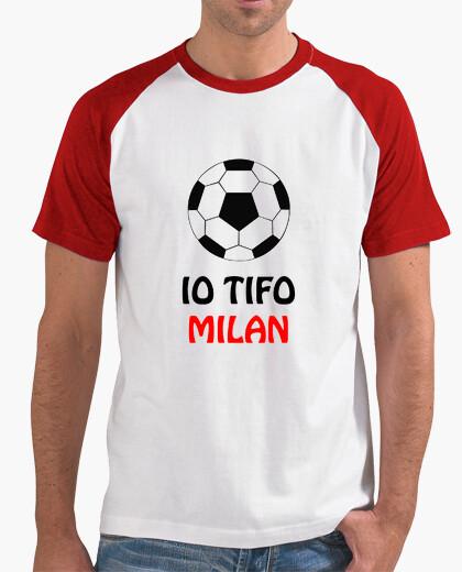 T-shirt uomo bianco rosso tifo milan