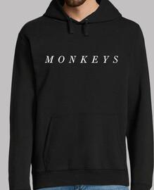 uomo, jersey con cappuccio, nero, monkeys artiche