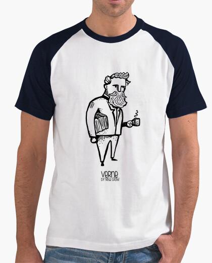 T-shirt Uomo, stile baseball, bianca e blu marino