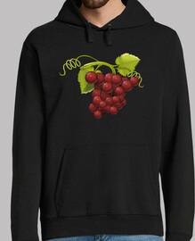 Uvas rojas sudadera chico capucha
