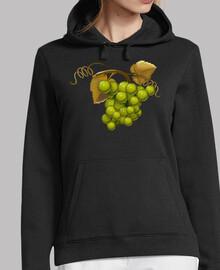Uvas verdes sudadera chica capucha
