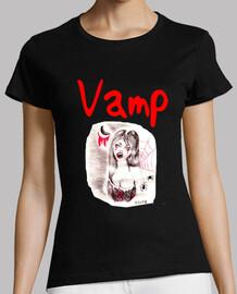 vamp, manga corta, negro, de primera calidad