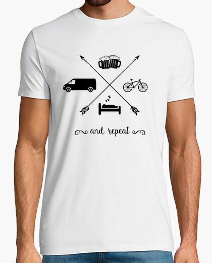 Tee-shirt Van, le sommeil, le vélo, la bière et répétez