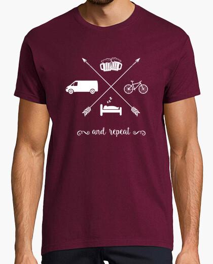 Van, sleep, bike, beer and repeat t-shirt