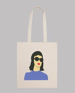 vecteur  femme  avec des lunettes sac