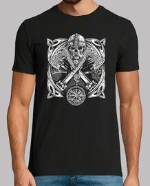 Vegvísir - Crâne et Haches de Combat (Vikings)