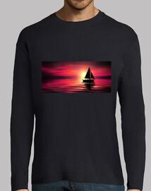 Velero con la puesta de Sol