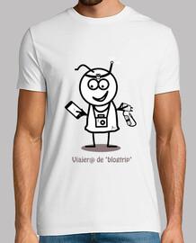 Viajero de blogtrip-Hombre, manga corta, blanco, calidad extra
