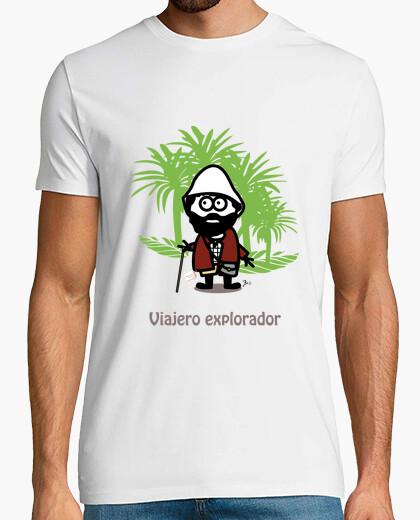 Camiseta Viajero explorador-Hombre, manga corta, blanco, calidad extra