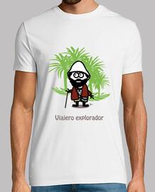 Viajero explorador-Hombre, manga corta, blanco, calidad extra