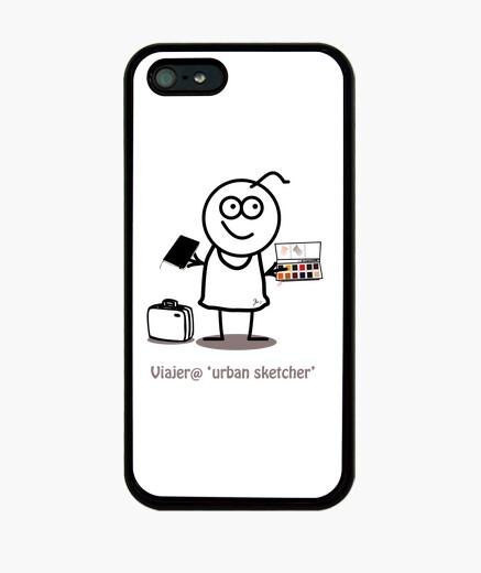 Viajero urban sketcher-Funda iPhone 5 / 5s, negra