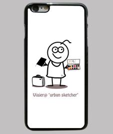 Viajero urban sketcher-Funda iPhone 6 Plus, negra