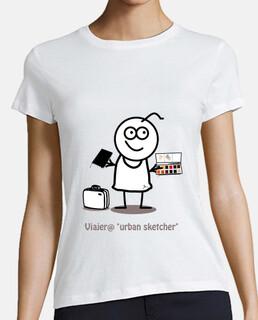 Viajero urban sketcher-Mujer, manga corta, blanca, calidad premium