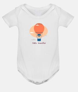viajeros en globo rosa ,Body bebé, blanco