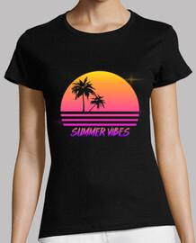 vibes d'été - rétro style coucher de soleil synthé - chemise womans