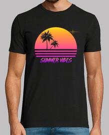 vibraciones de verano - estilo retro puesta de sol synth - camisa de hombre