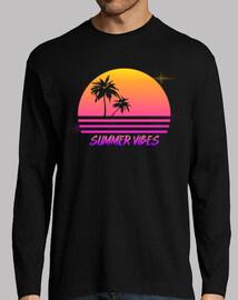vibraciones de verano - estilo retro puesta de sol synth - camisa de manga larga para hombre