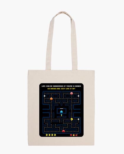 Bolsa Videojuegos - Comecocos - Pacman (fondo negro)