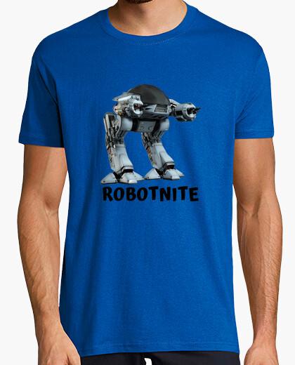 Camiseta Videojuegos Robotnite Gamer. Hombre, manga corta, azul royal, calidad extra