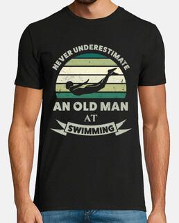 vieil homme à la natation cadeau drôle