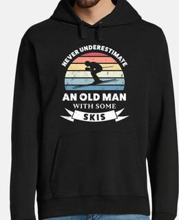 vieil homme avec des skis cadeau drôle