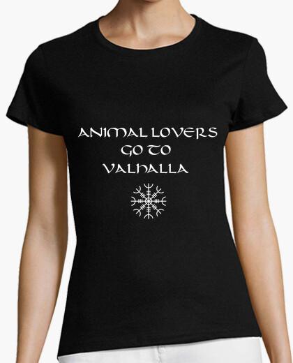 Tee-shirt vikings - les amoureux des animaux vont à valhalla (fille)