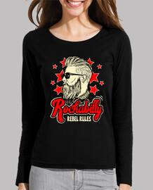 vintage girl t-shirt rockabilly rockers rebel rules usa rock and roll music girl t-shirt