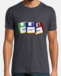 Vintage video games t-shirt, floppy disk (Street Fighter, Wolfenstein 3D & Doom)