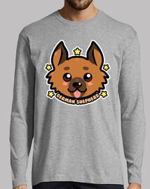 visage de chien berger allemand kawaii chibi - manche longue pour homme