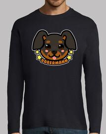 visage de chien kawaii chibi dobermann - manche longue pour homme