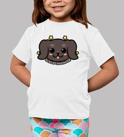 visage de chien labrador noir kawaii - chemise enfant