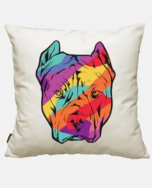 visage de chien pit-bull coloré