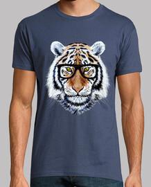 visage de tigre avec des lunettes
