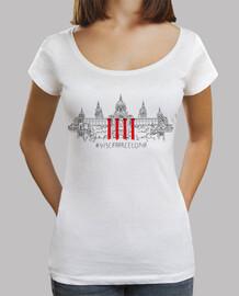 Visc a - Visca Barcelona (MNAC)  - Samarreta de noia, amb coll ample i Loose Fit (gran ventall de