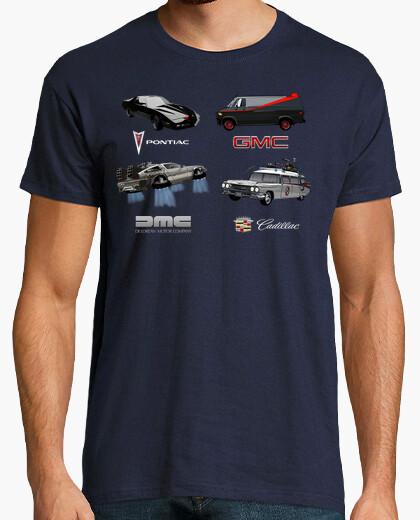 Tee-shirt Voitures de Cinéma et TV 80's - K 2000, Agence tous Risques, Retour vers le Futur e SOS Fantômes