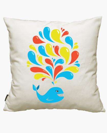 Fodera cuscino vortici colorati cartoon felice balena