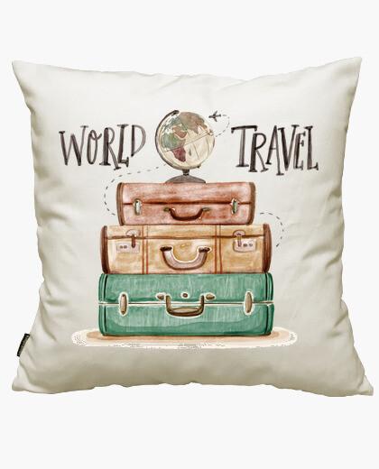 Housse de coussin voyage dans le monde
