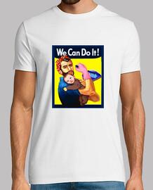 We Can Do It! Hombre, manga corta, blanco, calidad extra