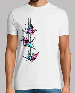weiß origami crane watercolor