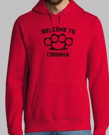 Welcome to Corunha.  Hombre, jersey con capucha, rojo