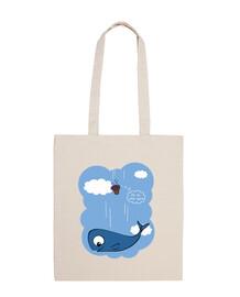 whale and petunias bag