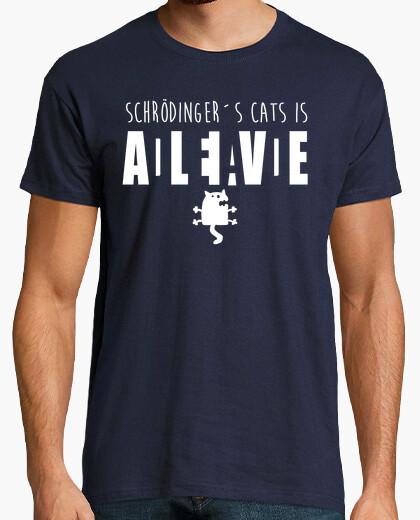 White cat schrödinger t-shirt