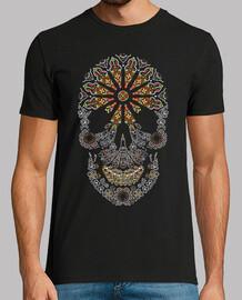 white stained glass catrina skull