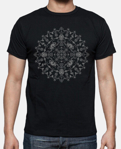 wiccan mandala with cats, skulls, ghosts and potions - monochrome