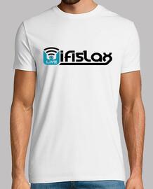 WifiSlax Logo. camiseta blanca chico.