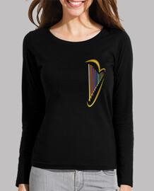 woman, long sleeve, black harp