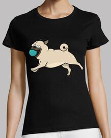 woman, manga short, black, premium quality carlino pug with ball