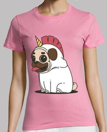 woman t-shirt dog carlino unicorn pug