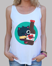 woman, wide braces & loose fit - cat with beer 2hotz (various colors)